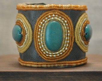 Bead Embroidered Leather Cuff Bracelet with Dyed Marble-Bead Embroidery Leather Cuff-Beaded Orange Green Cuff-Handcrafted Gemstone Jewelry