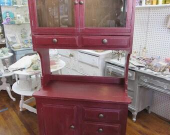 Red Kitchen Cabinet hutch