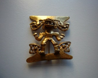 Vintage Alva Museum Replica Mexican Diety Gold Tone Brooch Pin