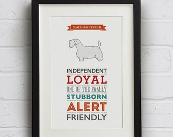 SALE 25% Off Sealyham Terrier Dog Breed Traits Print - Great Gift for Sealyham Terrier Lovers