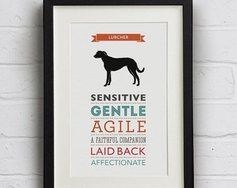 SALE 25% Off Lurcher Dog Breed Traits Print