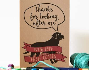 Personalised 'Thanks for Looking After Me' card from the dog
