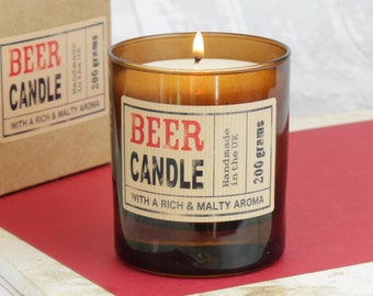 Beer Scented Candle in Brown Glass with Gift Box, Mens Candle, Christmas Gift.