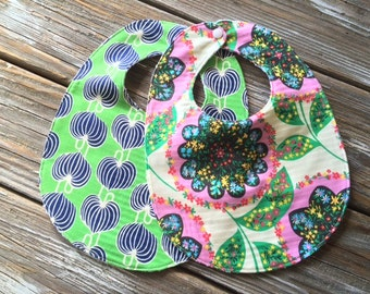 Bibs ~ You Choose 1 or Both! ~ Modern//Geometric//Floral//Pink//Navy//Green//Tribal