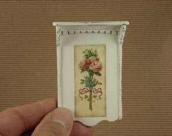 Etagege, wall shelf wooden Shabby, miniature 1/12 scale. #1