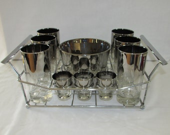 SILVER OMBRE GLASSWARE Set Includes 6 Tumblers 6 Shot Glasses Ice Bucket Carrier Barware