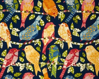 Indoor / Outdoor Weather Resistant Fabric By The Yard - Blue Ash Hill Garden Birds - Blue, Green, Yellow, Orange, Red