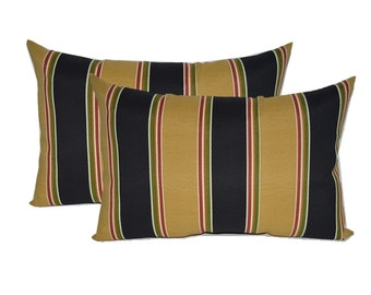Set of 2 - Indoor / Outdoor Lumbar / Rectangle Decorative Throw Pillows - Black, Tan, Red, Green Wide Stripe
