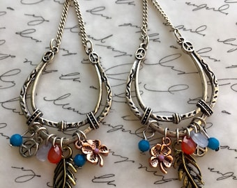 Pewter bohemian chandelier earrings