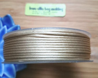 Satin Rattail Cord - Beige 2mm cord- Minimum three (3) Metres - Shamballa Macrame Beading kumihimo Stringing Knotting Cord Thong