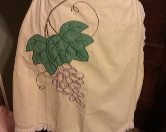 SALE Vintage Yellow Half Apron with Embroidered Grapes