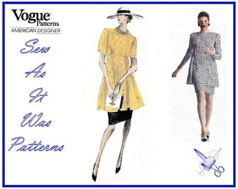 1980s Uncut Vogue 2233 American Designer Bill Blass Dress Flared Overskirt Empire Waist Vintage Sewing Pattern Size 12 14 16 Bust 34 36 38