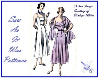 "1940s Vogue 6631 Sun Dress Double Breasted Sleeveless Straps Stole Misses Vintage Sewing Pattern Size 16 Bust 34"" 87cm Flared Princess Seams"