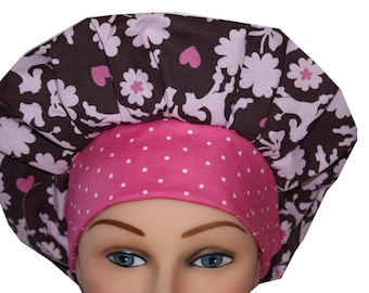Scrub Cap Surgical Hat Chef   Hat Tie Back Bouffant Style  Pink Brown Poodles Dogs Hearts/ 2nd Item Ships FREE