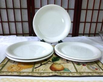 Vintage 5 White Stoneware Dinner Plates  846 Bravo White by Newcor, Thailand