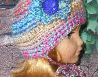 """Handmade Crochet Hat for the 18"""" American Girl Doll and other dolls around that size Ruffly Flower & Button"""
