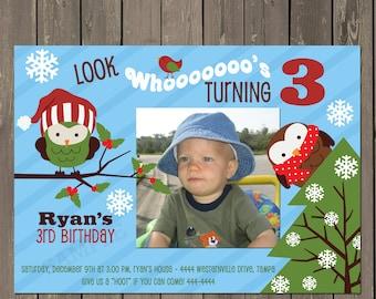 Owl Birthday Invitation, Winter Owl 1st Birthday Invitation, Boys Snowflake Birthday Invite, Printable or Printed