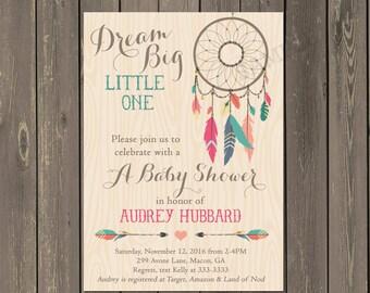 Dreamcatcher Baby Shower Invitation, Tribal Boho Shower Invite, Arrow and Feather Baby Shower, Bohemian Themed Invitation, Gender neutral