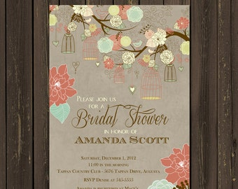 Rustic Bridal Shower Invitation, Bird Cage Bridal Shower Invitation, Floral Branch Shower invite, Coral and green, Printable
