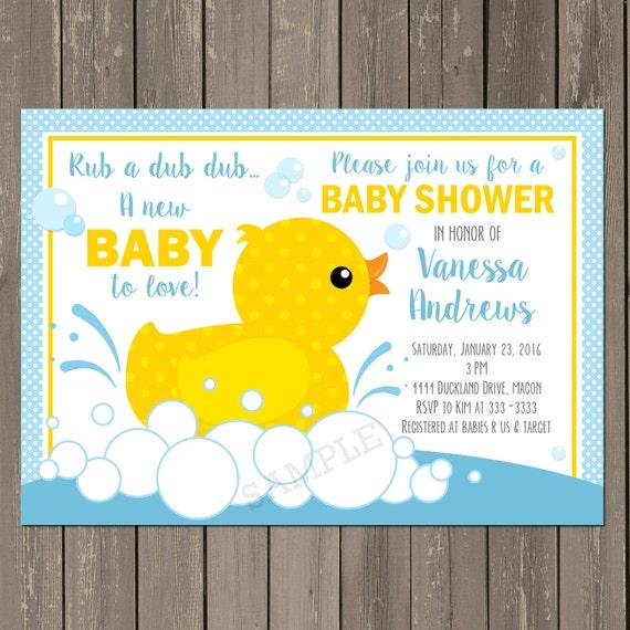 rubber duck baby shower invitation rubber ducky baby shower, Baby shower invitations