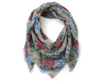 Floral Square Scarf Cotton Gauze 36 inch