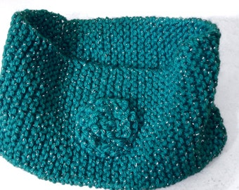Knitted Head Band - Wide Head Warmer - Winter Head Band Ear Warmer Cover - Ear Muffs - Sparkly Turquoise Soft Yarn With Rosette