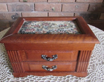 Vintage Small Music Jewelry Box with Cloth Padded Top.