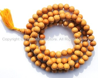 108 BEADS Tibetan Natural Wood Mala Prayer Beads - 10mm - Tibetan Mala Beads - Mala Making Supplies - PB95B