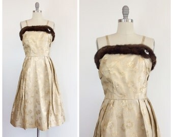 50s Gold Brocade Wiggle Dress - 1950s Vintage Metallic Mink Fur Trimmed Rhinestone Party Dress - Medium - Size 8