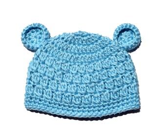Newborn Photo Prop, Crochet Bear Hat, Blue Bear Ears, Infant Boy Crochet Hat, Crochet Baby Hat, Toddler Boys Hat, Blue Newborn Beanie Hat