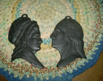 Vintage cast iron silhouettes of George and Martha Washington- early American silhouettes- Cast Iron Wall Plaque Heads- Williamsburg