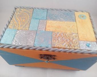 Polymer clay blue, orange and silver mosaic tile wooden trinket, jewellery, keepsake box