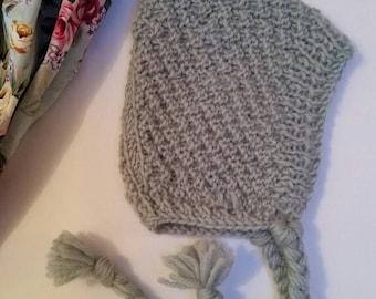 Pure Wool Baby Bonnet Pixie Hat Handmade by Kittyandzac Australian Wool ready to ship