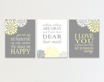 You Are My Sunshine YELLOW Gray Nursery Wall Art Flowers Print or Canvas Lyrics Wall Decor Set of 3 Baby Shower Gift Baby Girl Wall Decor