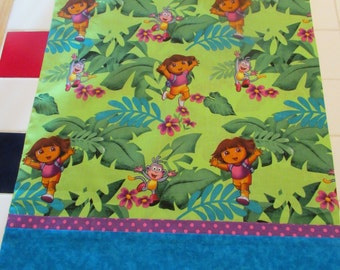 Machine stitched cotton Dora the Explorer  youth pillow case  free monogramming