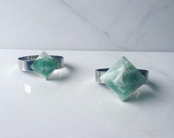 Fluorite Pyramid Cuff Bracelet - Silver Cuff - Gemstone Jewelry