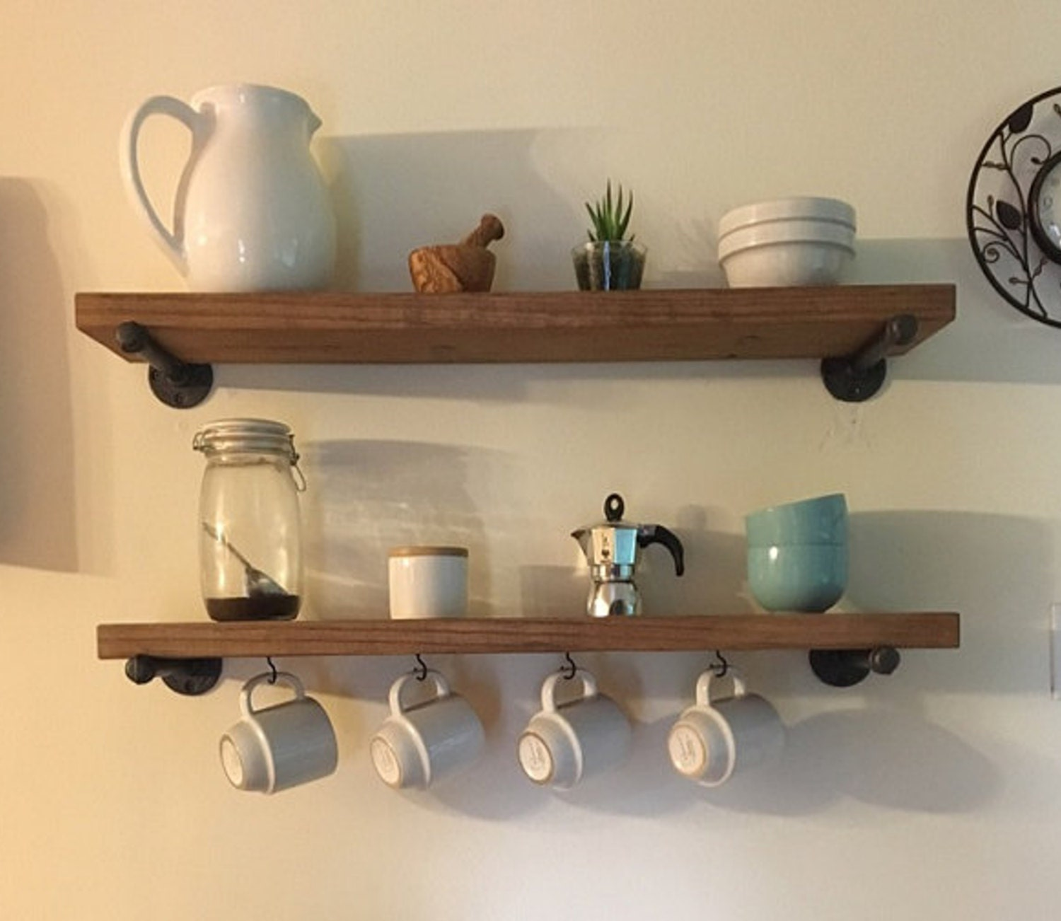 Kitchen Open Shelving Depth: 8 Deep Floating Coffee Cup Shelf Rustic Wood And Pipe