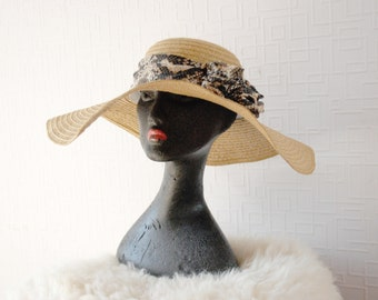 BEIGE sun hat ~ Beige wide brim hat ~ Summer vacation hat ~ Summer beach hat ~ Designer hat ~ Flower decor hat  ~ Snake print ribbon