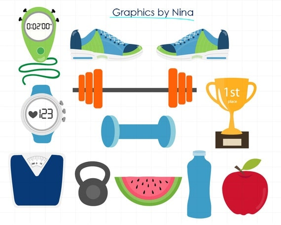instant download gym clipart fitness clipart for personal and