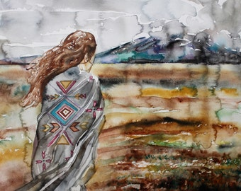 before the storm . original watercolor painting