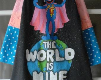 Upcyled eco Sesame Street Superhero dress size 4