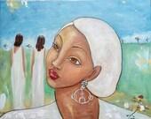 Original 20x16 Modern African American folk portrait painting Canvas ArT