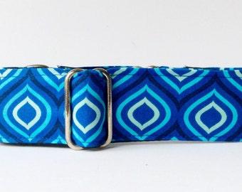 Stunning blue martingale collar  (dog collar, greyhound martingale, fun, colorful, modern, shades of blue)