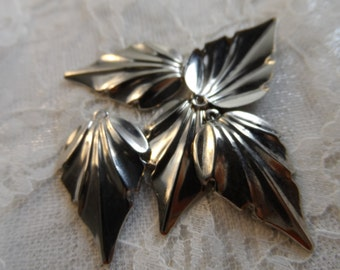 "Vintage silver plated stainless steel leaves,1&1/8th"",5pcs-KC-159"