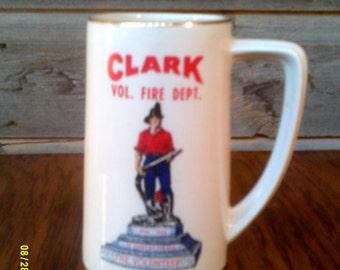 Vintage 1974 Fireman's Mug, Clark Volunteer Fire Dept., Fireman's Mug, Western Fireman Mug, Fireman Collectible, Firefighters Mug