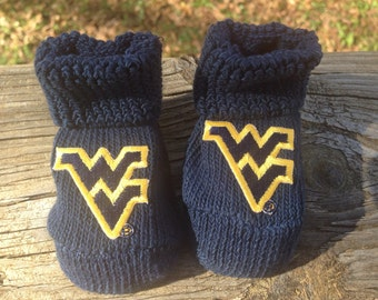 West Virginia mountaineers baby booties