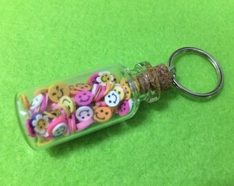 Miniature Smiley Face Clay Shapes Jar. Tiny, Kawaii, Cute Novelty Gift in Glass Bottle. Keyring. Free UK p&p