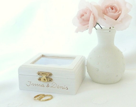 Wedding Ring Box Ring Bearer Pillow Box White by SayaArtDesign