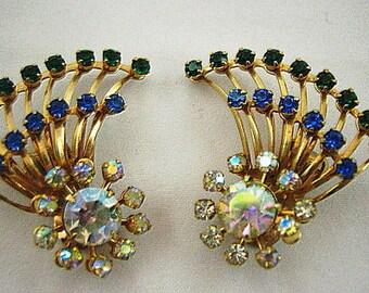 Vintage Mixed Gems Fan Style Earrings