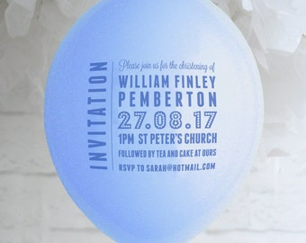 Personalised Christening/Baptism Balloon Invitation